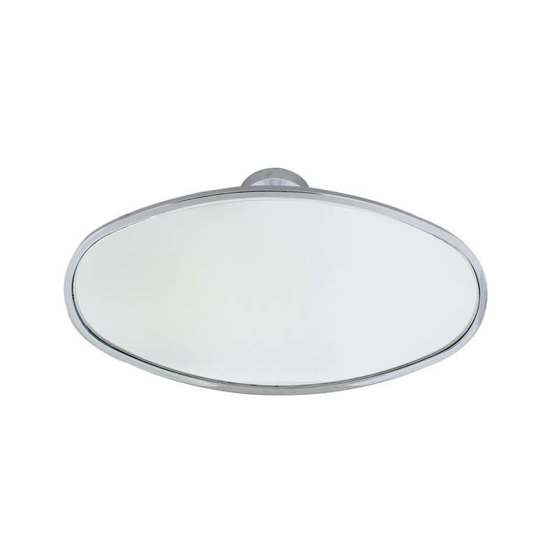 Chrome Interior Rear View Mirror with Glue-On Mount - Oval | Interior Mirrors / Accessories