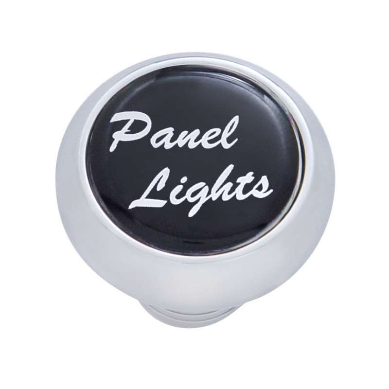 "Small Deluxe Dash Knob w/ ""Panel Lights"" Black Glossy Sticker 
