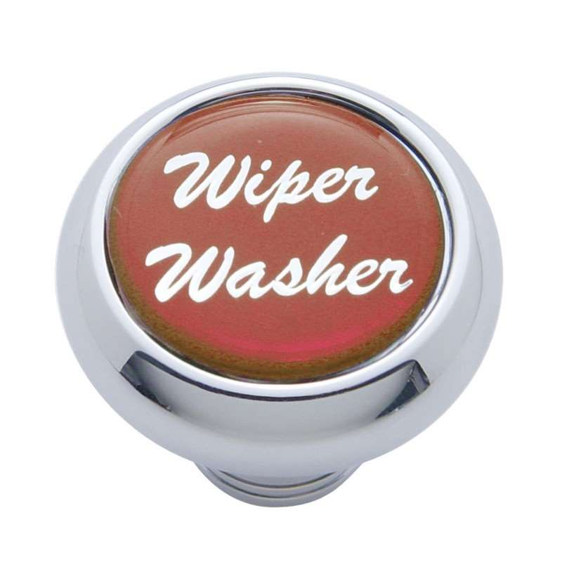 "Small Deluxe Dash Knob w/ ""Wiper/Washer"" Red Glossy Sticker 