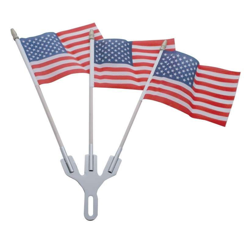 Chrome Flag Holder with Flags w/ 3 Flags | Novelties / Accessories